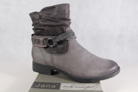 Jana Stiefel Winterstiefel Schnürstiefel Boots grau Echtleder 25425 NEU
