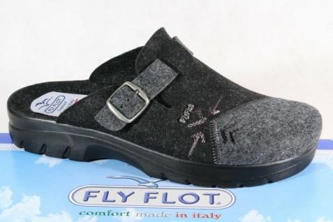 Fly Flot Herren Pantoffel Hausschuh Clogs schwarz/ grau NEU!!