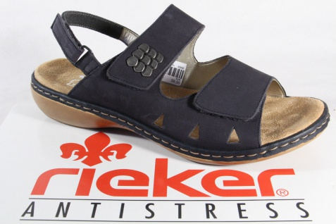 Rieker Sandalen Damen Sandalen Rieker Sandaletten blau Echtleder NEU!! 580f50