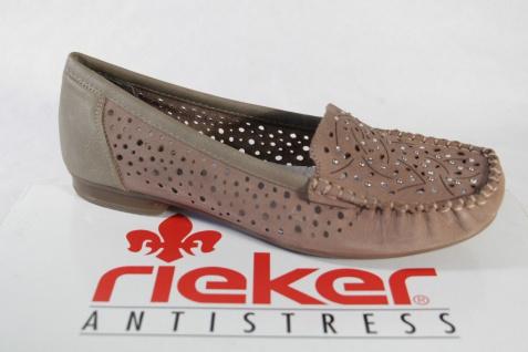 Rieker Slipper Slipper Ballerina Pumps pfeffer/silber, NEU