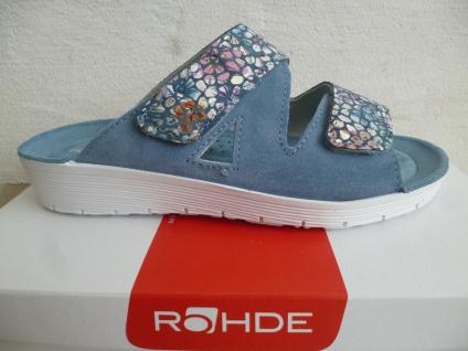 Rohde Pantolette Pantoletten Hausschuhe blau Leder 1403 NEU!