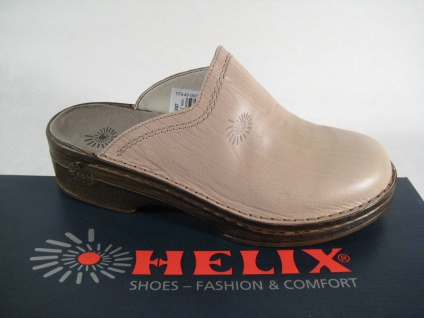 Helix Clogs Pantoletten Pantolette Hausschuhe beige/stein Echt Leder!!!