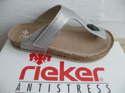 Rieker Zehenstegpantolette Pantolette silber silber silber NEU! 52e7dd