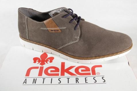 Rieker Velourleder Herren Schnürschuhe Sneakers, grau/braun, Velourleder Rieker NEU! 398ffa