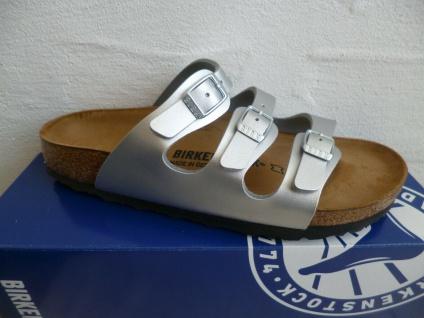 Birkenstock Florida Pantolette Sandale Hausschuh Silver 954383 NEU!