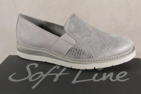 Jana Soft Line Damen H Slipper Ballerina grau/silber Weite H Damen 24565 NEU! 30401f