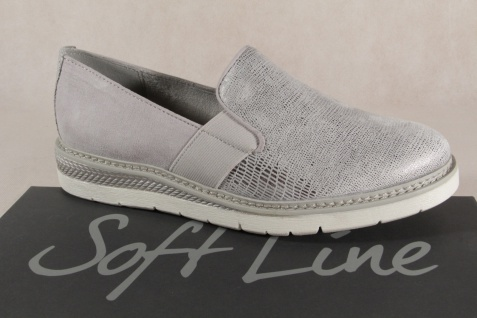 Jana Soft Line Damen Slipper Sneaker Ballerina grau/silber 24565 NEU!