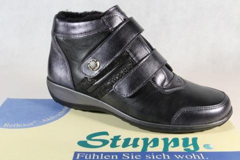 Stuppy Damen Stiefel Stiefelette Winterstiefel Leder schwarz/ silber 9891 NEU!