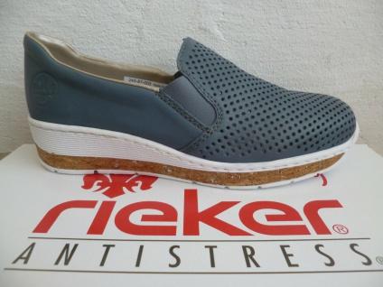 Rieker Damen Slipper Sneakers Ballerina Halbschuhe Pumps blau 59776 NEU!