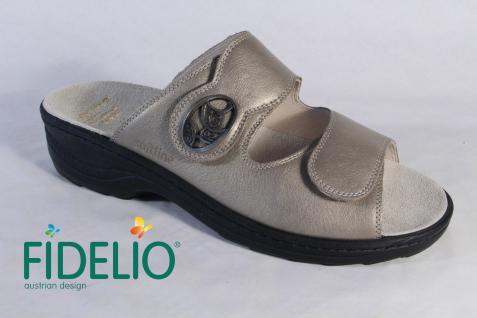 Fidelio Damen Beliebte Pantolette beige Leder Klettverschluß, Lederfußbett 23411 NEU! Beliebte Damen Schuhe 96bb29