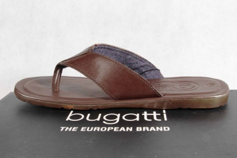 Bugatti Zehenstegpantolette Zehenstegpantolette Bugatti Pantoletten braun Echtleder NEU! 31661f