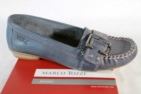 Marco Tozzi Damen Slipper Lederinnensohle Ballerina, blau Leder, weiche Lederinnensohle Slipper NEU! a6cf6a