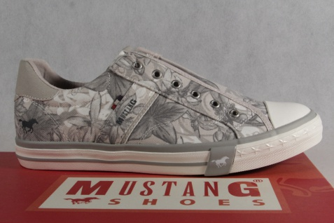 Mustang Slipper Sneakers Sportschuhe Leinen Halbschuhe grau/ beige Leinen Sportschuhe NEU! aba89b