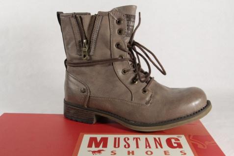 Mustang 1139 Stiefel Stiefeletten Boots mit Reißverschluss, taupe, gefüttert NEU