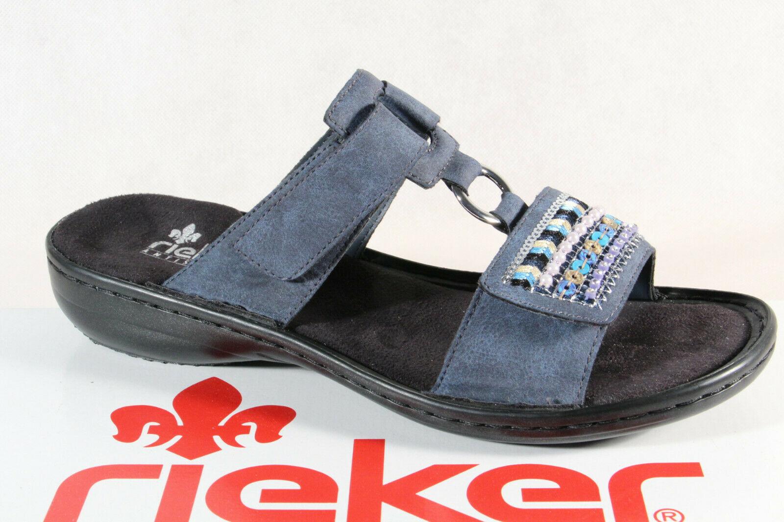 Rieker Damen Pantolette Pantoletten Pantoffel Hausschuhe blau 608P6 NEU!