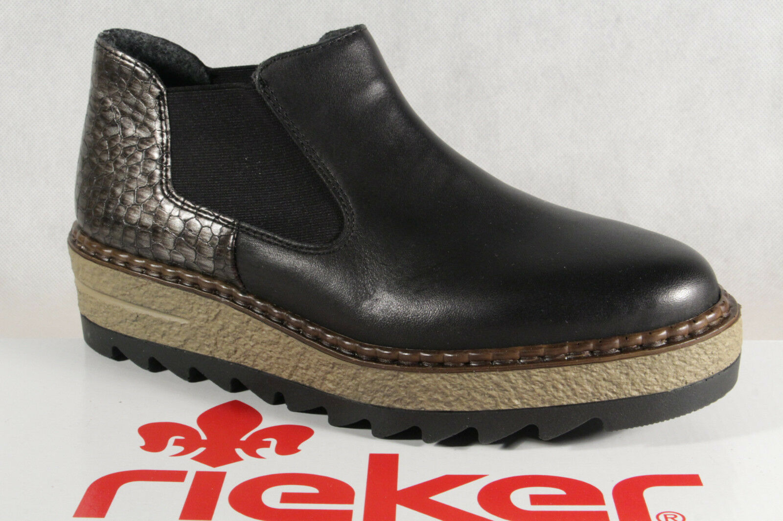 Rieker Stiefelette, Stiefel, Stiefel, Schlupfstiefelette, schwarz, 55890 NEU