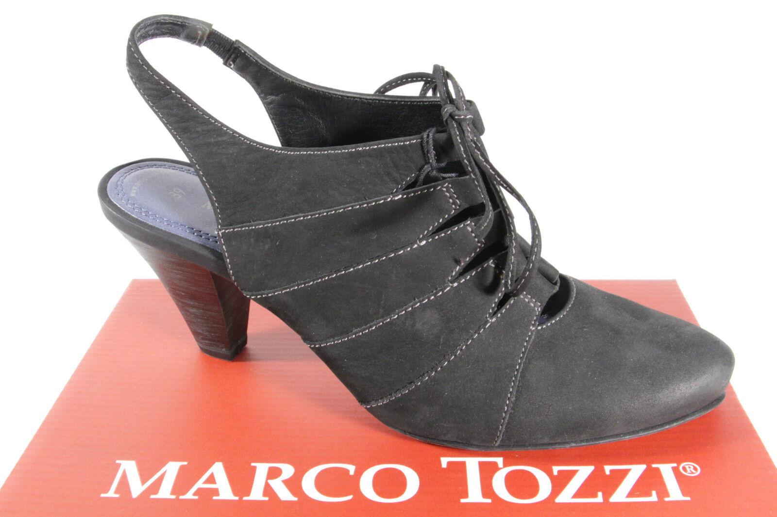 Marco Tozzi Damen Sling  Sandale, schwarz, Gummisohle, Schnüroptik NEU