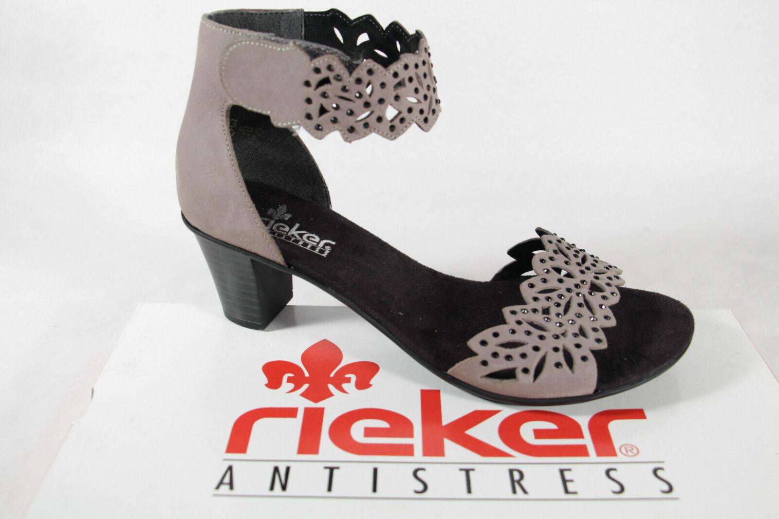 Rieker Damen Sandale Sandalette Sandalen Sandaletten grau Leder NEU