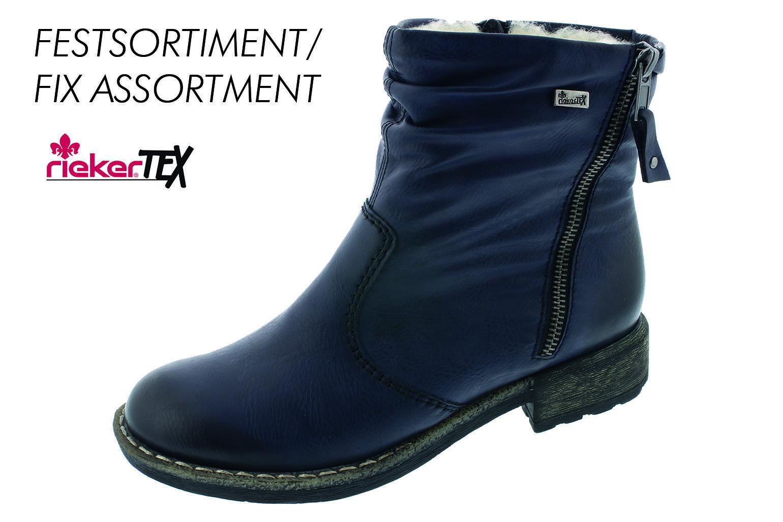 Rieker Damen Stiefel Stiefeletten Boots Winterstiefel blau Warmfutter 74673 NEU