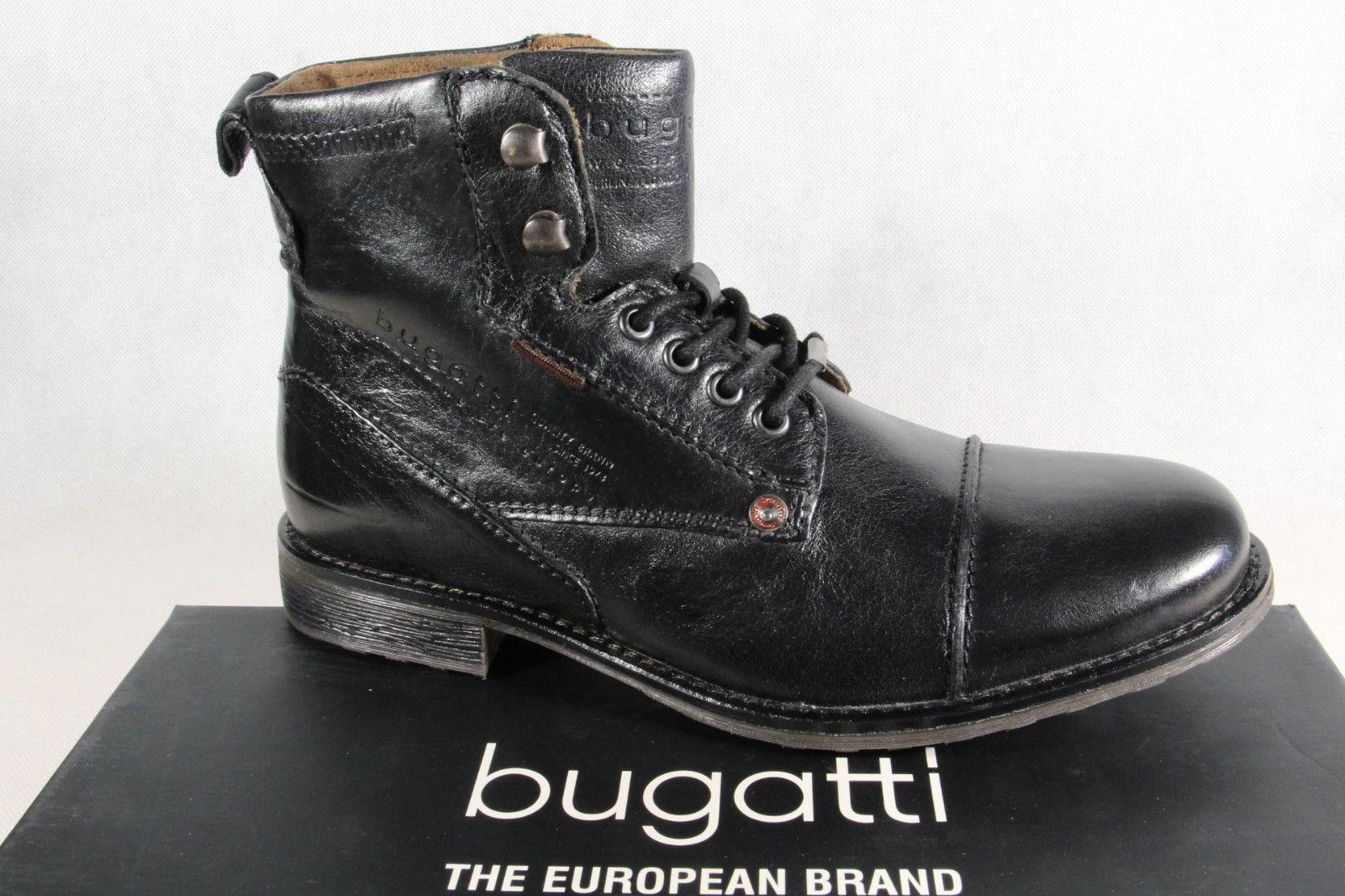 Bugatti Herren Stiefel Stiefel Schnürschuhe Schnürstiefel schwarz Leder NEU
