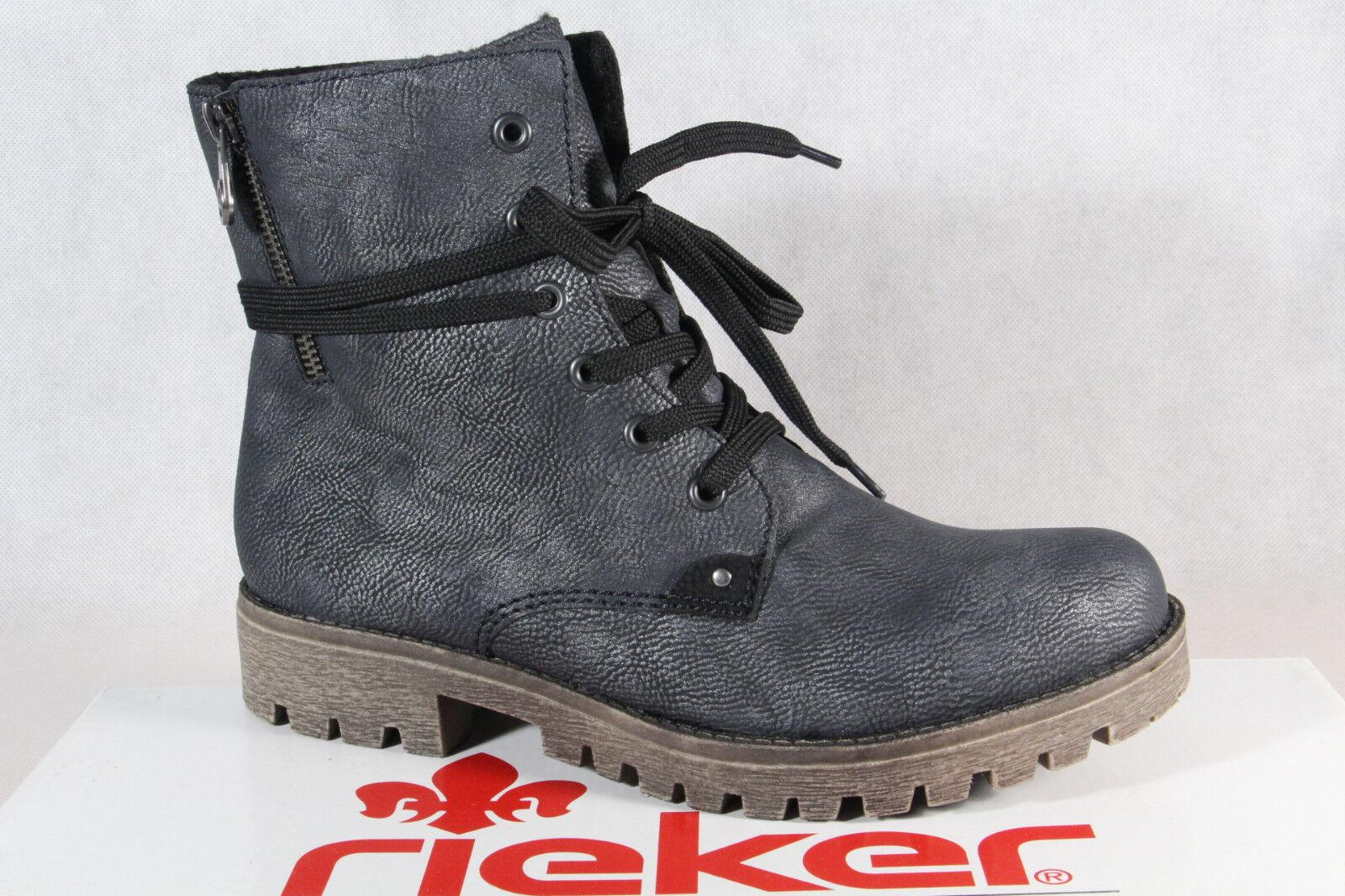 Rieker Damen Stiefel Stiefeletten Schnürstiefel Stiefel blau grau 785G9 NEU