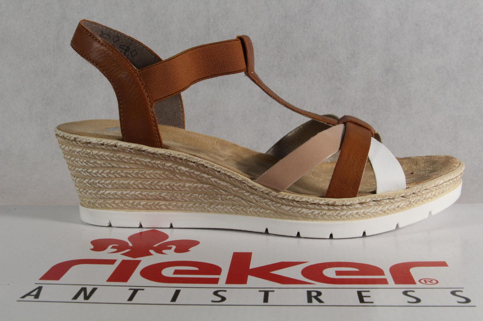 Rieker Damen Sandale Sandalette braun weiche Innensohle Keilabsatz 61995 NEU