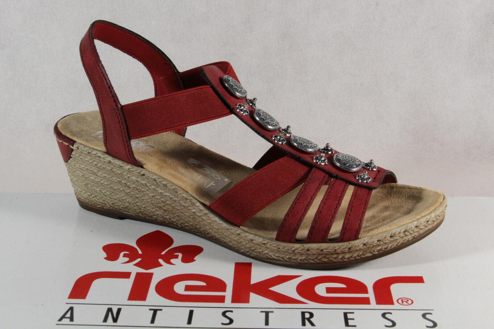 quality design f8ae9 61865 Rieker Damen Sandalen Sandaletten Sandale rot 624B4 Keilabsatz NEU!!