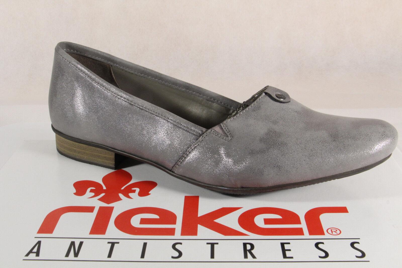 Rieker Damen Slipper Pumps Halbschuhe Ballerina grau, 51961 Neu