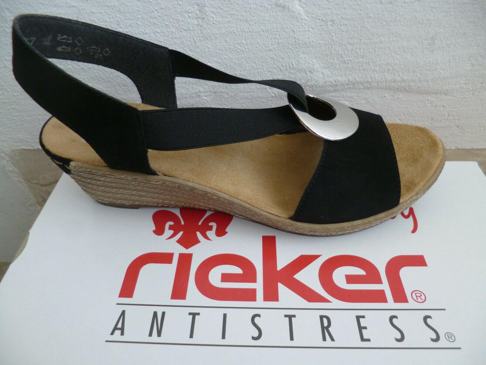 Rieker Damen Sandale Sandalen Sandalette Sandaletten schwarz tqEGE