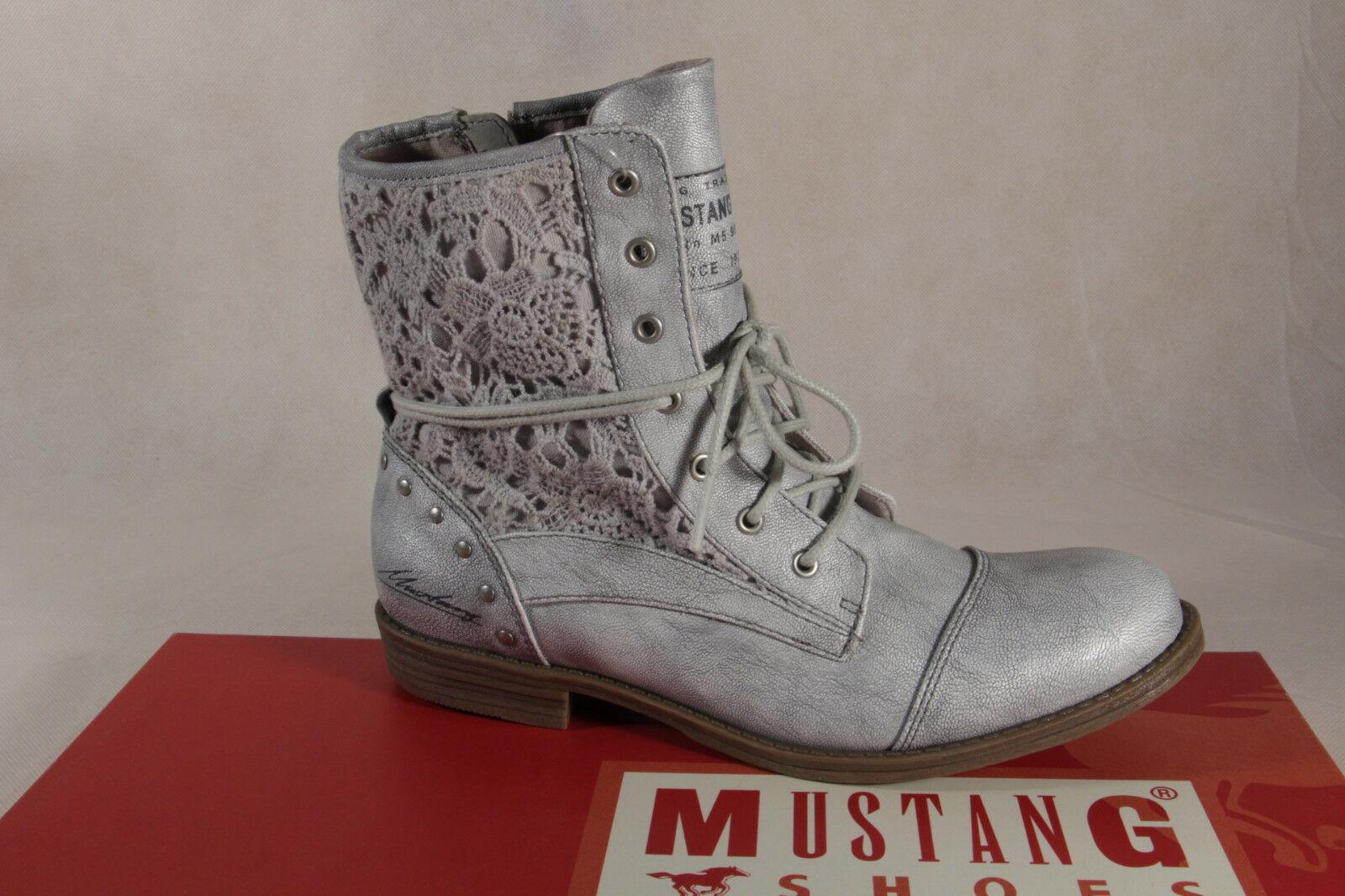 Mustang Stiefel Stiefeletten Schnürstiefel Stiefel silber NEU