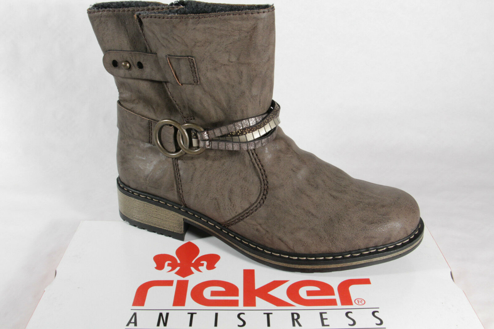 huge selection of b7655 7decb Rieker Damen Stiefel Stiefeletten Boots Winterstiefel grau gefüttert NEU