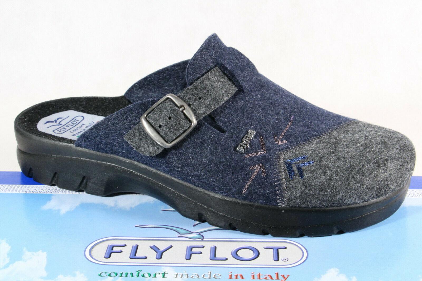 Fly Flot Herren Pantoffel Hausschuhe Clogs blau grau NEU!!