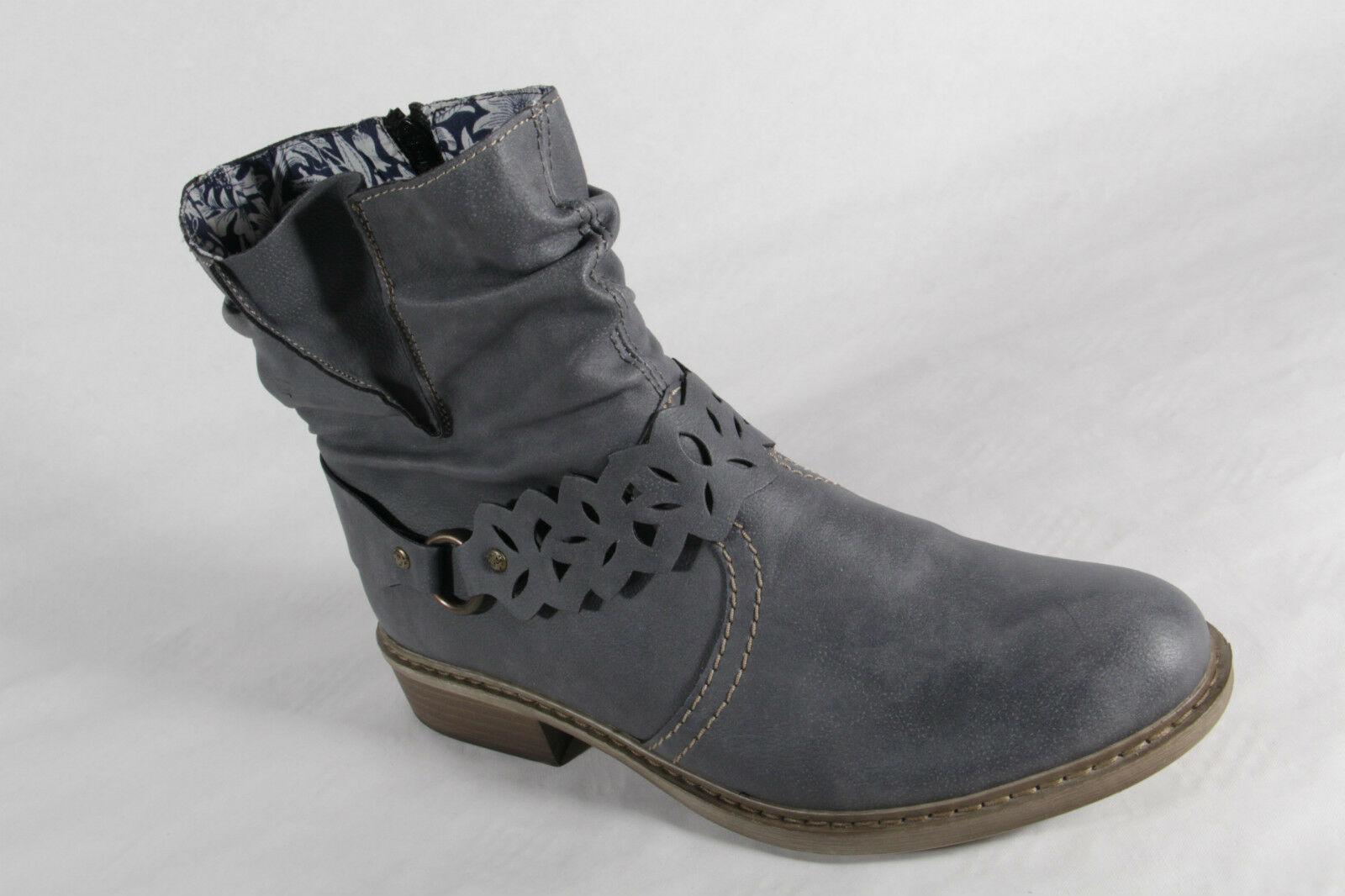 Rieker Damen Stiefel Siefeletten Boots Kunstleder blau NEU!