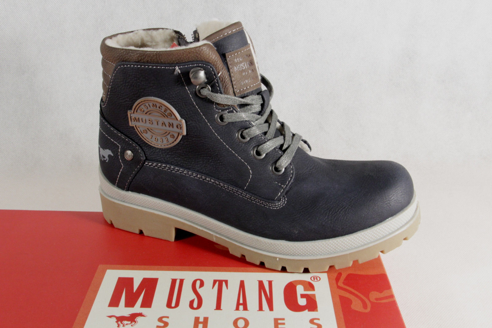 Mustang Stiefel Stiefeletten Schnürstiefel Stiefel Stiefel Stiefel blau 5037 NEU  1eaa3c