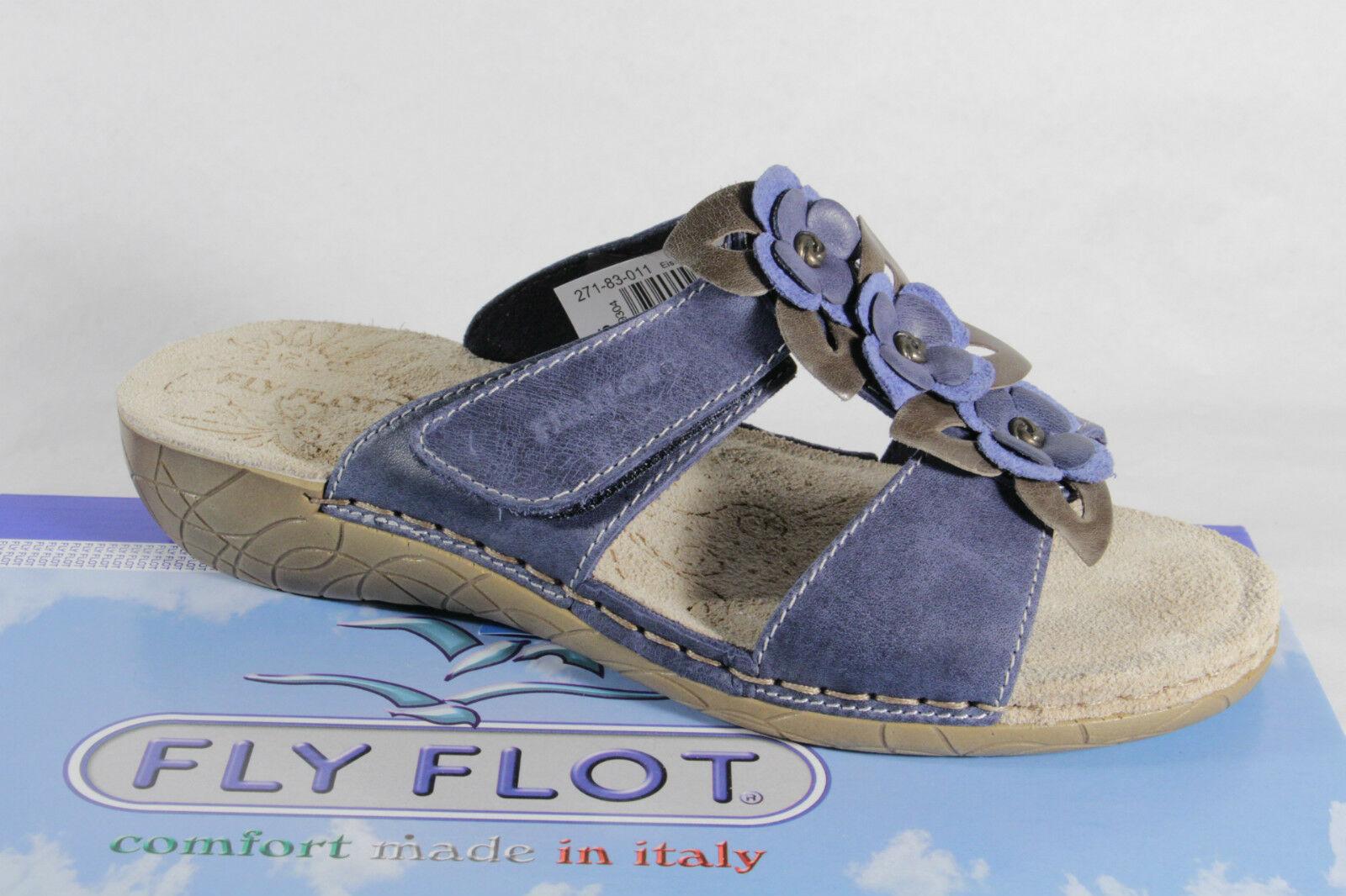 Fly Flot Damen Pantoletten Pantoffel Hausschuhe blau NEU