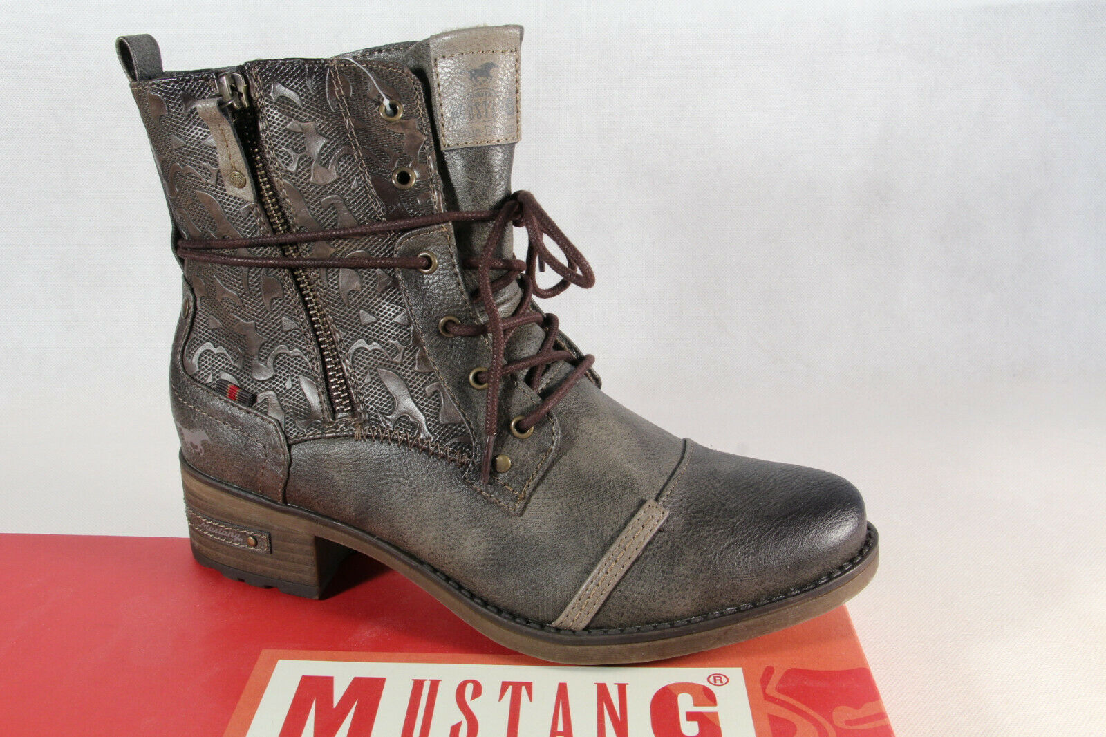 1229 braun Schnürstiefel Stiefeletten Stiefel Mustang
