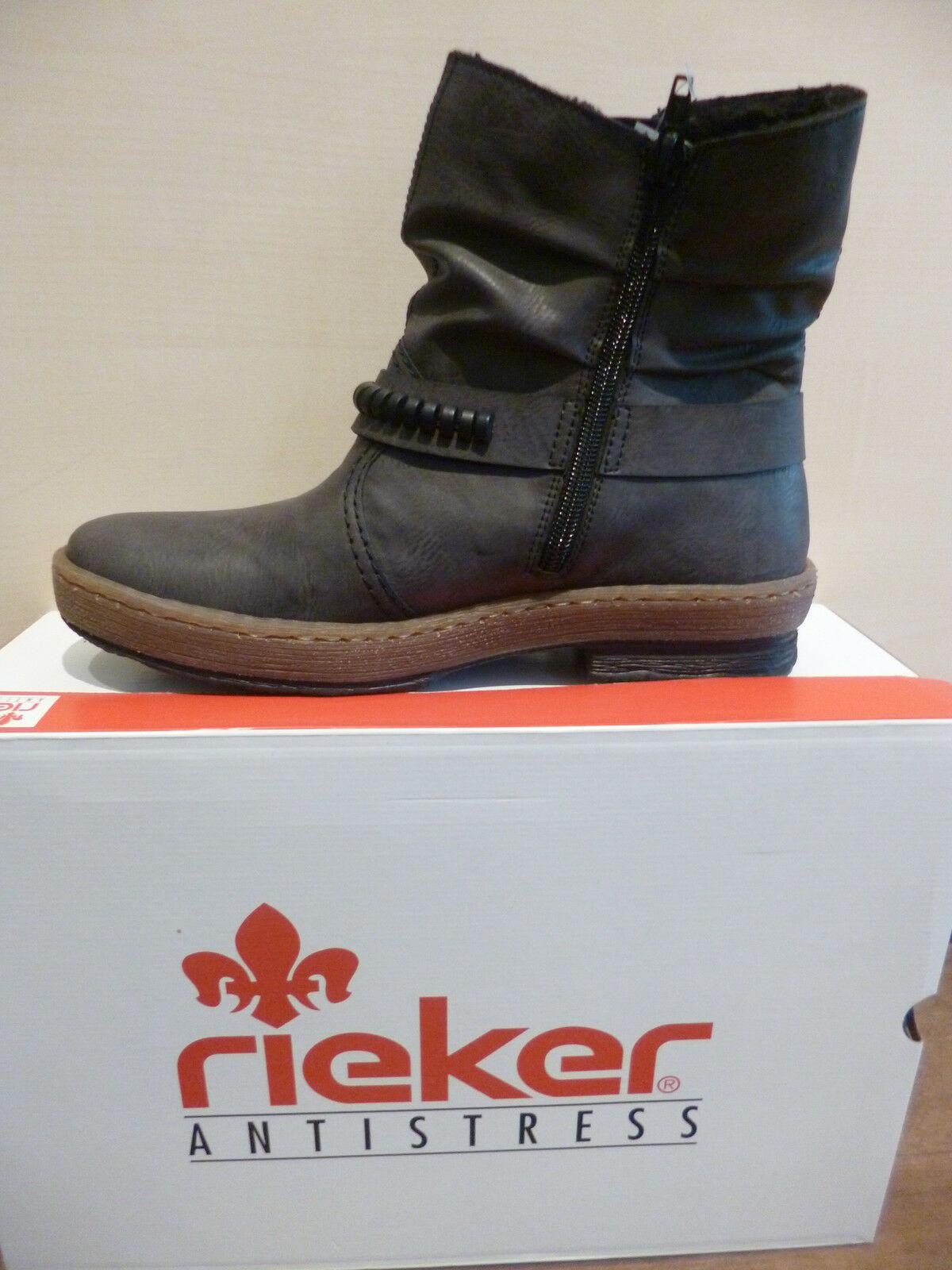 Rieker Damen Stiefel Stiefeletten Boots Winterstiefel grau Warmfutter Z6762 NEU
