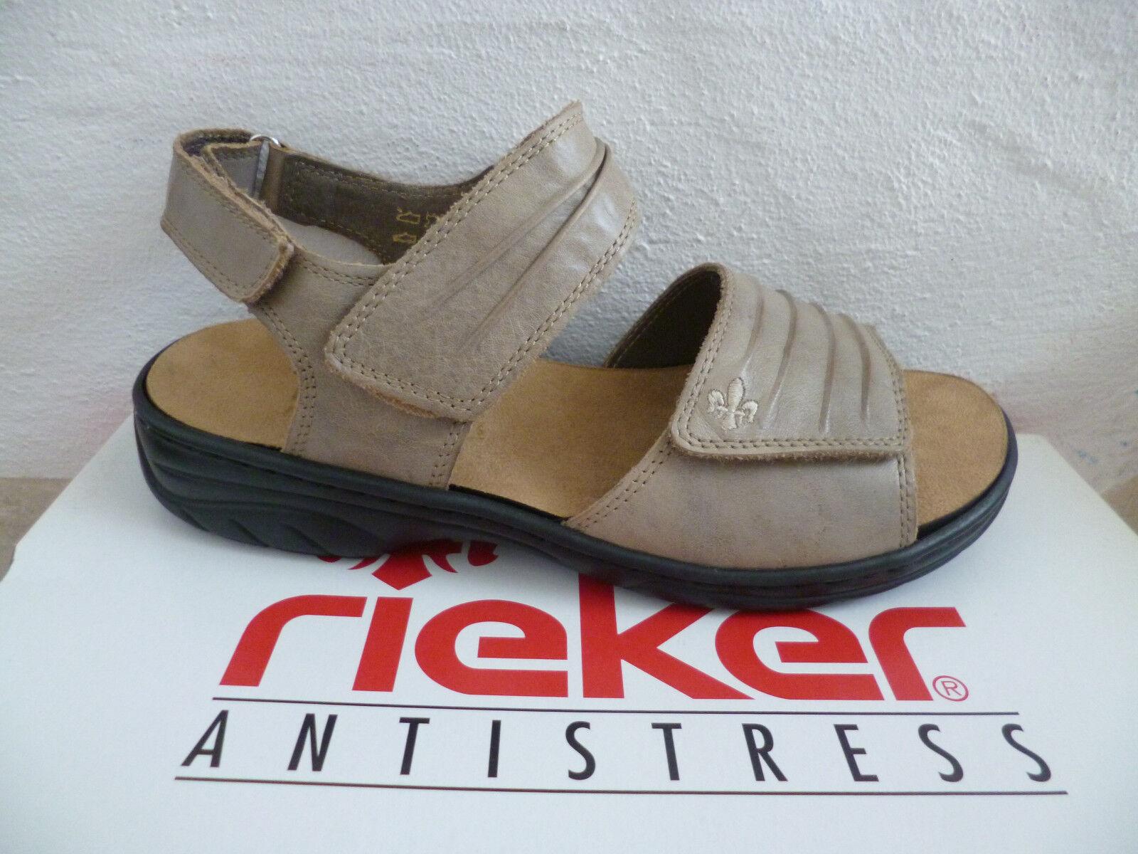 Rieker Damen Sandale Sandalette beige 64560 Leder NEU