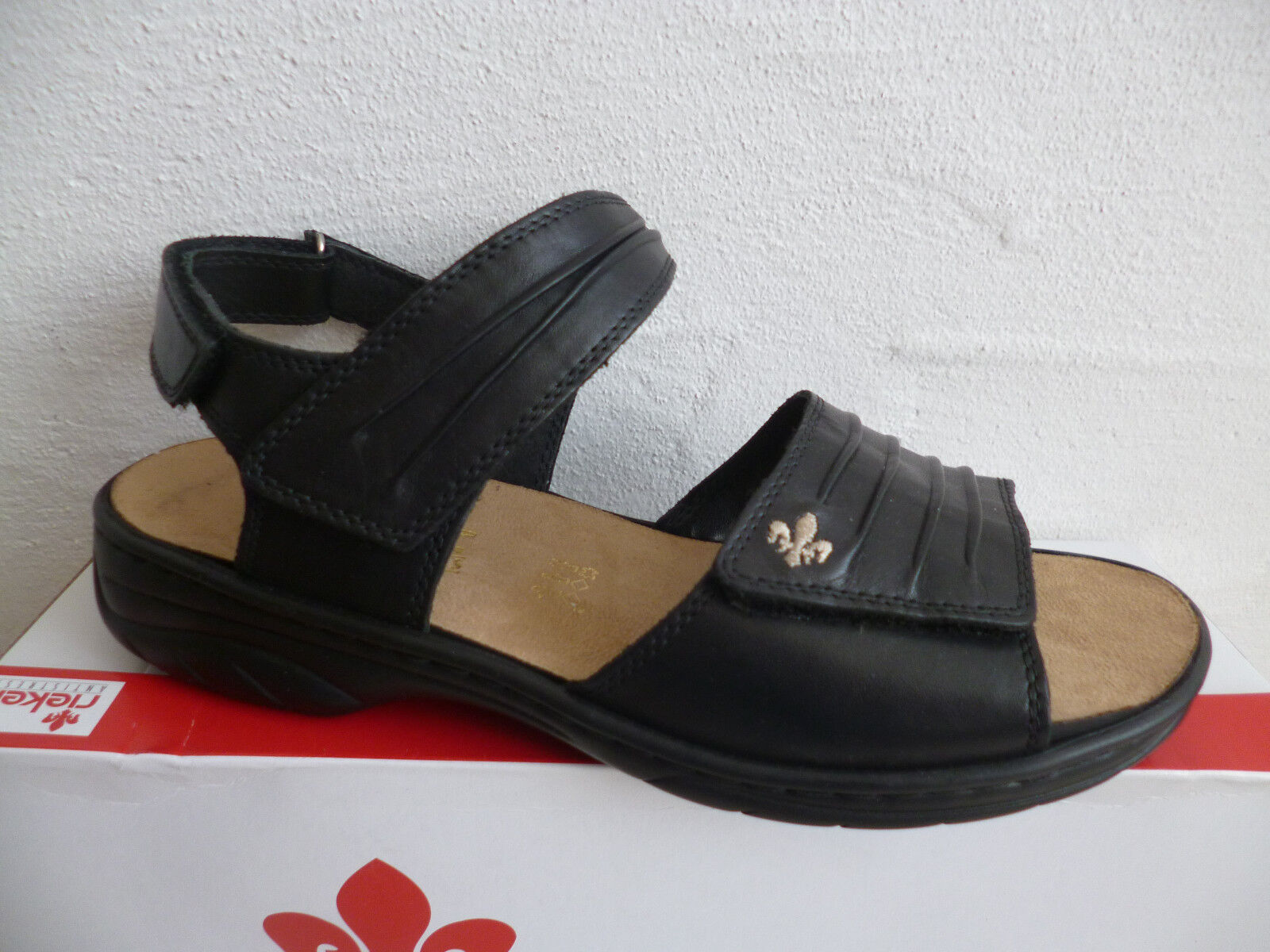 Rieker Damen 64560 Sandale Sandalette schwarz schwarz schwarz Leder NEU   2b0265