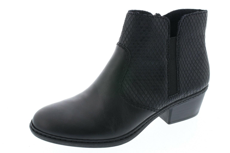 Rieker Stiefel Stiefelette Stiefeletten Stiefel 75562 schwarz Leder Kunstleder NEU