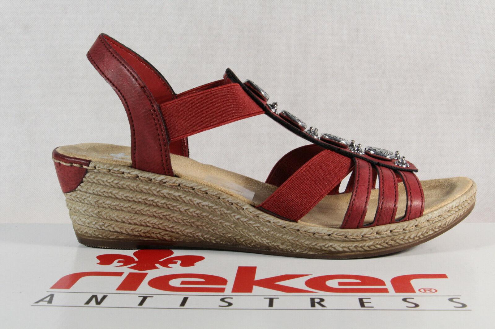 Rieker Damen Sandalen Sandaletten Sandale rot 624B4 Keilabsatz  NEU!!