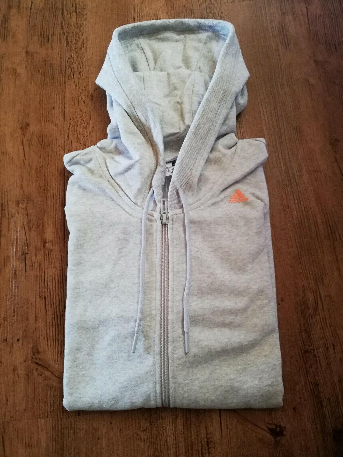 Adidas Sweatjacke Jacke Sport Damen grau weiß Trainingsjacke NEU
