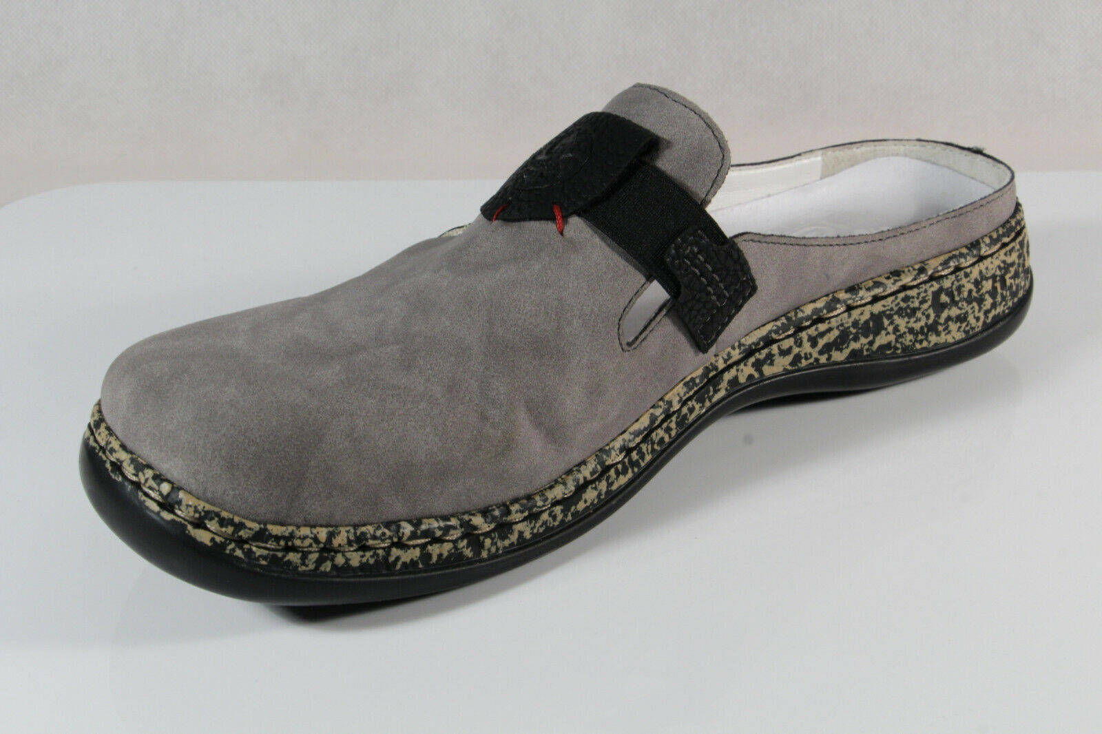 the latest 1a2a0 296ca Rieker Damen Clogs Sabot Pantoffel Hausschuhe grau 46396 NEU!!