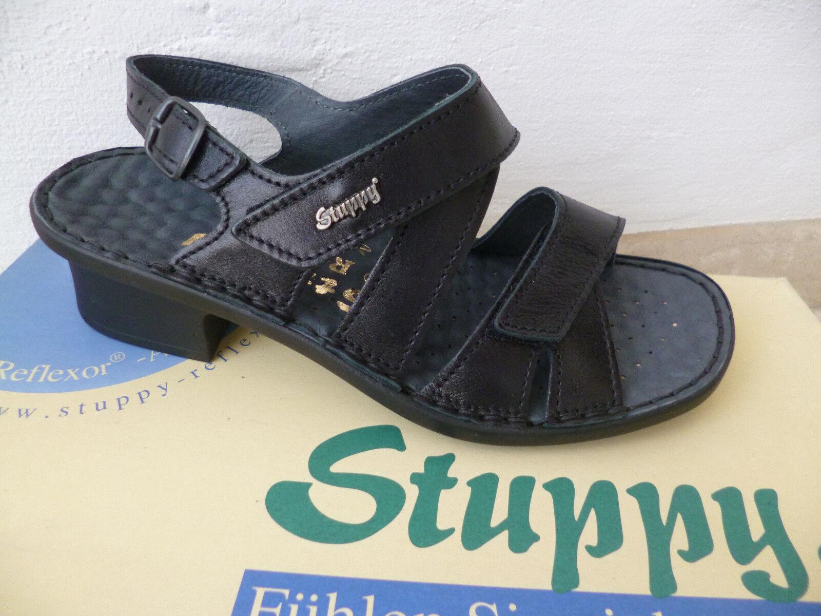 Stuppy Damen Sandale Sandalette Echtleder schwarz Neu