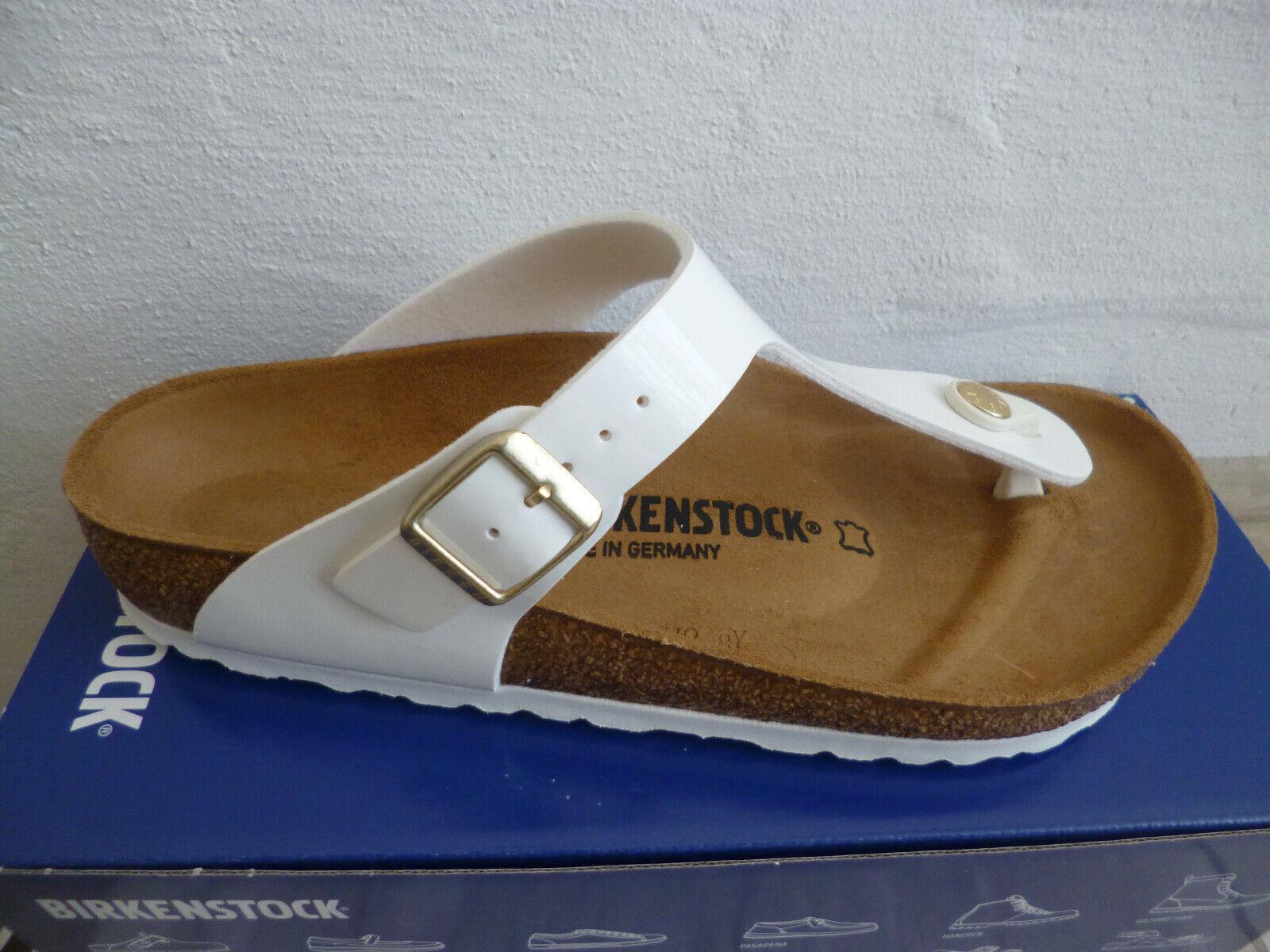 Birkenstock Gizeh Zehen Trenner Pantolette Sandale White PatentLack 1005299 NEU