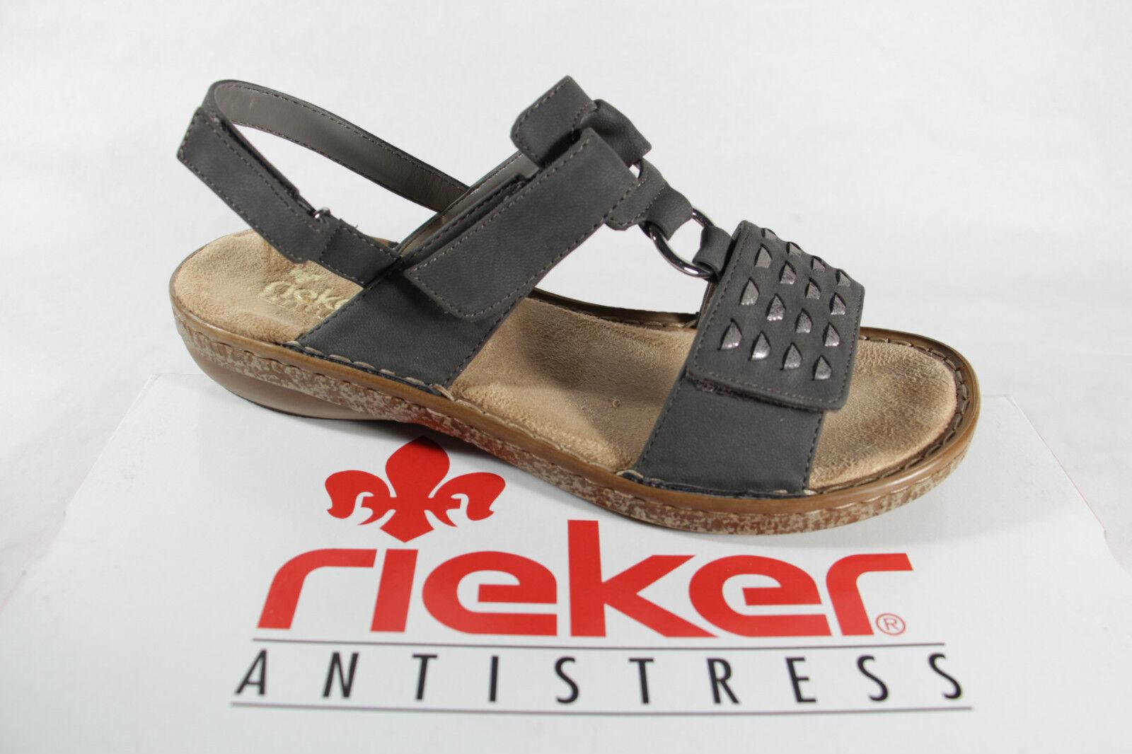 Rieker Damen Sandalen Sandaletten grau, weiche Innensohle KV 62883 NEU