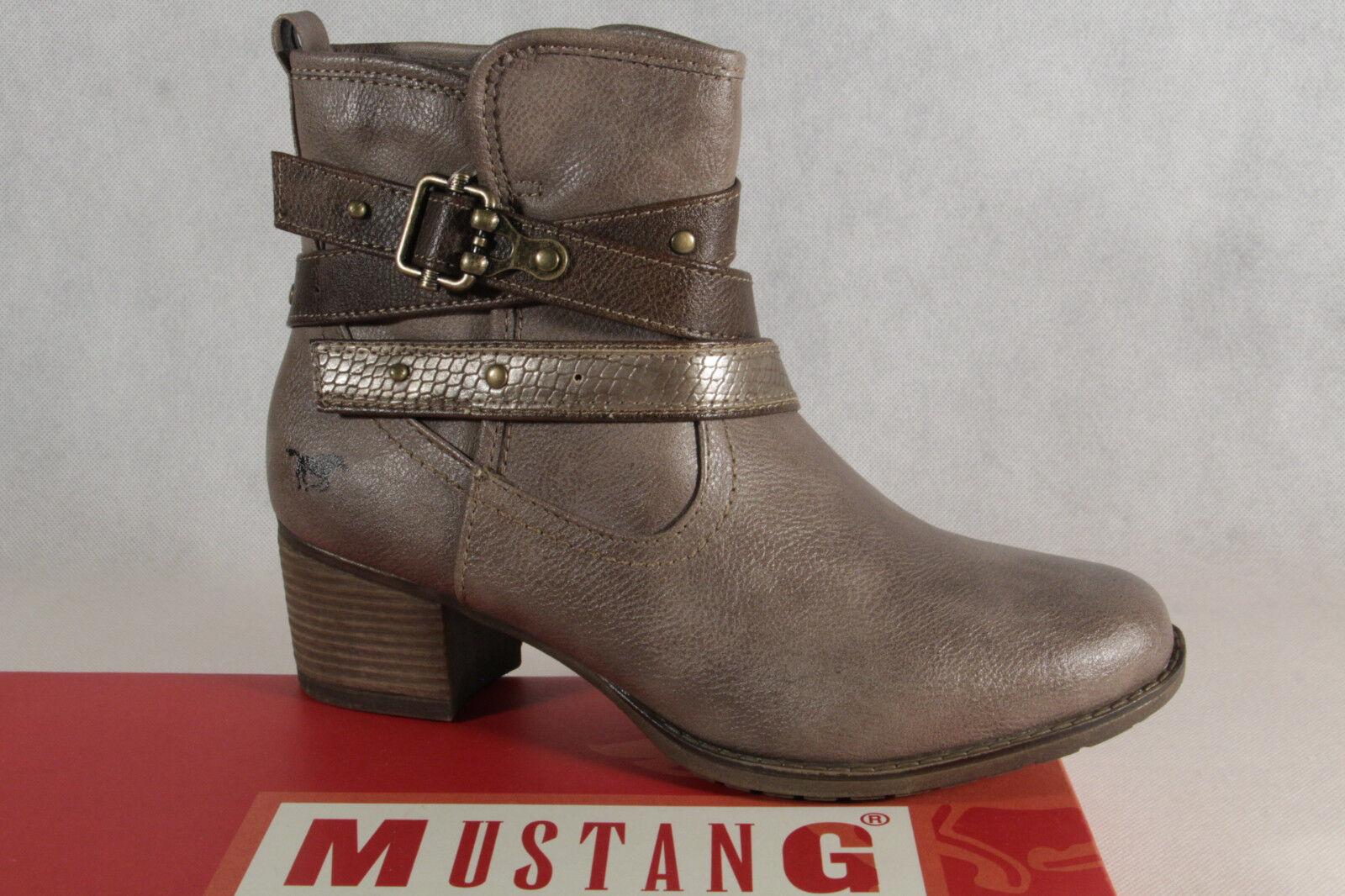 Mustang Damen Stiefel Stiefeletten Boots taupe braun leicht getH4
