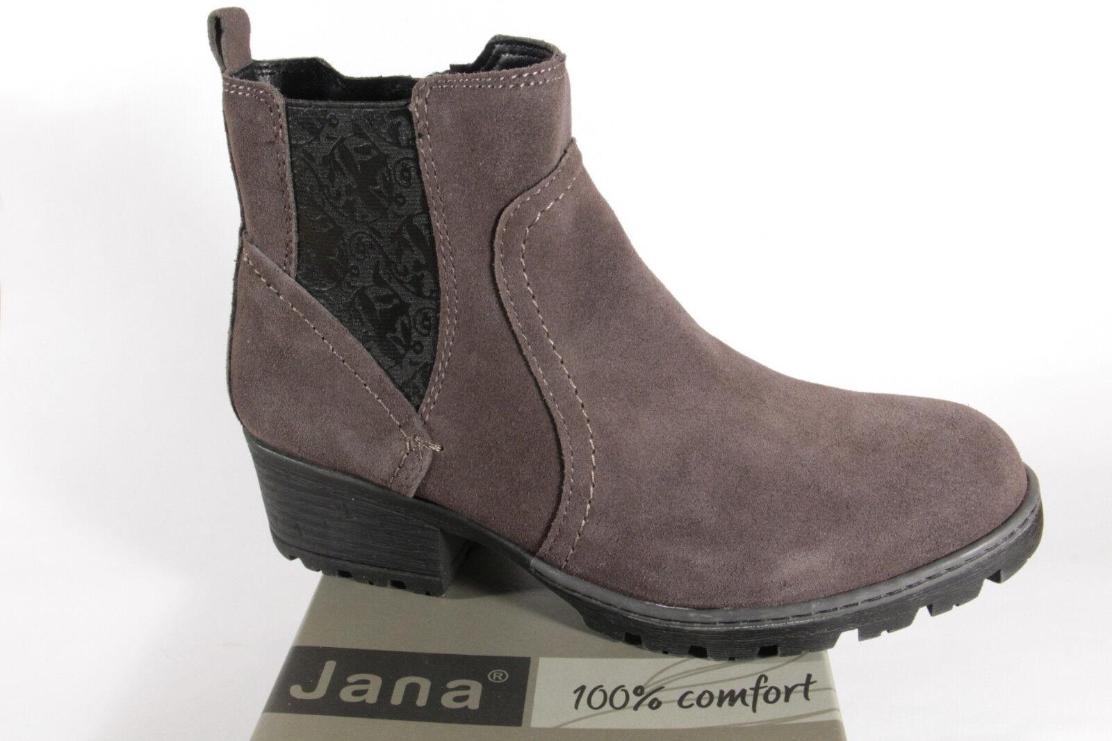Jana 25404 Damen Stiefel, Stiefeletten Stiefel Echtleder grau NEU