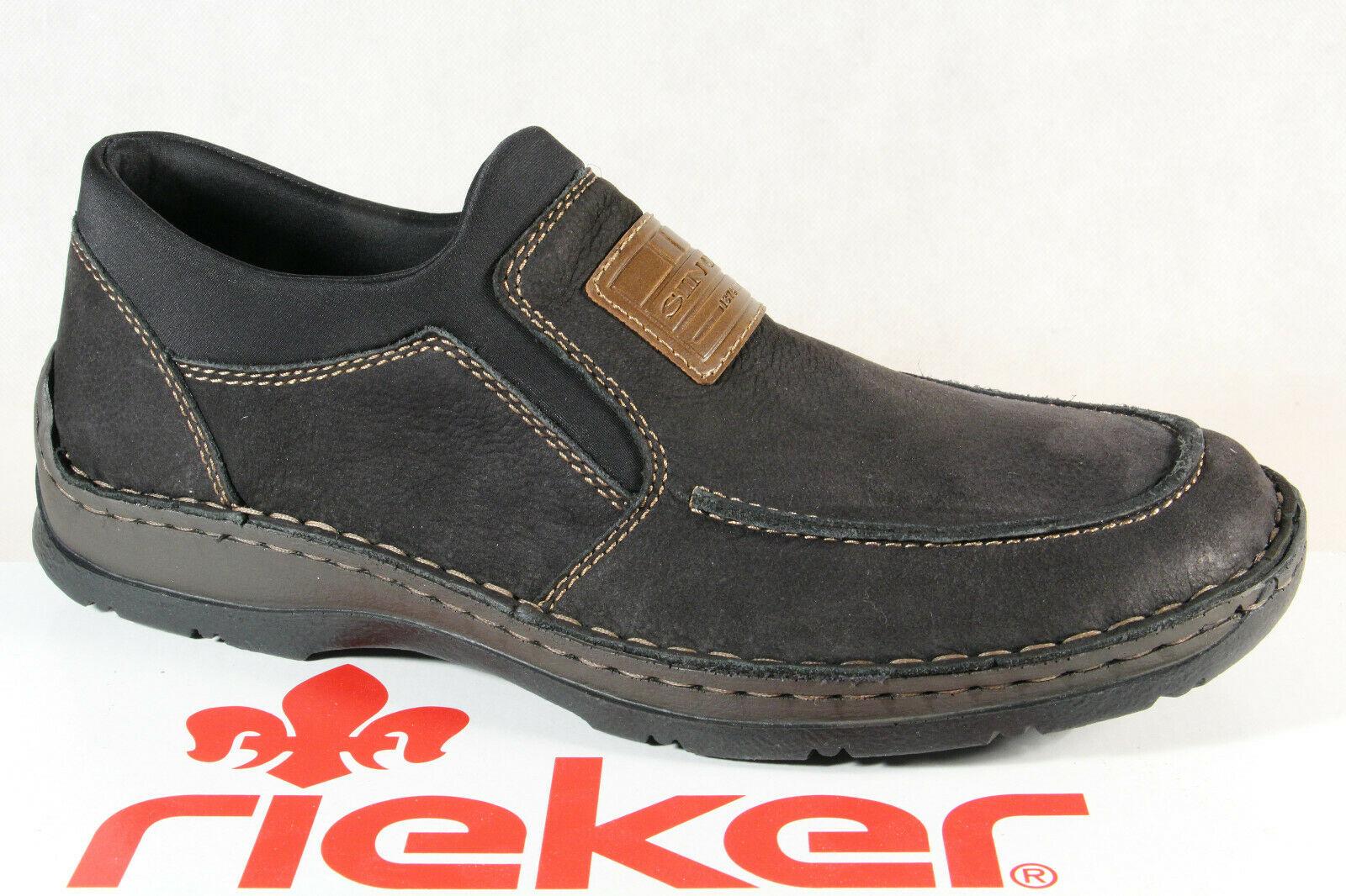 Rieker Slipper Halbschuhe Sneaker schwarz Extra Weit 05352 Echtleder NEU!!