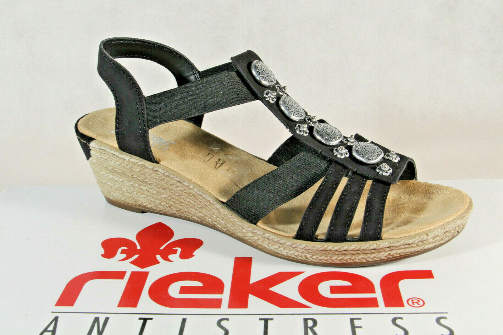 Rieker Damen Sandalen Sandaletten Sandale schwarz 624B4 Keilabsatz NEU